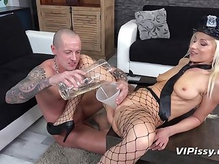 Leggy lady police officer gets pissed on the top of by her man