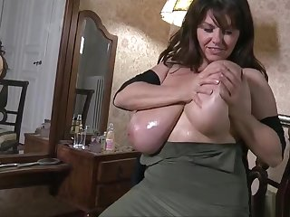 Amicable breasty senior lady in ultra glam talisman fun
