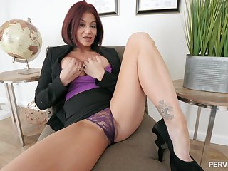 Ryder Skye prepares her cunt with fingers for hard coition with a defy