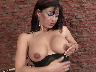 Pretty mature can't wait to put black dildo in her wet pussy