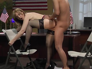 Miserly mature fucked at the office by the new guy