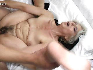 Hairy grandma hard fucked hard by young lover