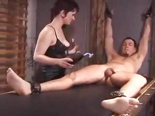 Bound and Punished - femdom with busty brunette domina at ANALDIN