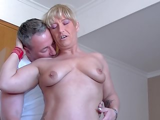 Debbie D. and Teresa Lynn share a cock and stuff each others pussies