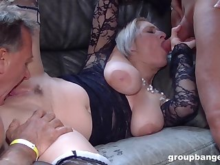 Hardcore MMF threesome not far from a mature slut connected with lingerie