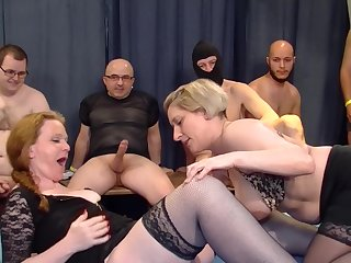 Petra W. and Teresa Lynn pay off cum at an progressive orgy party