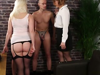 Femdom trio humiliates undecorated submissive