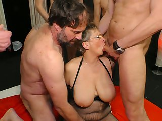 Big tittied cougar Grace is fucked unconnected with several young and hoggish dudes