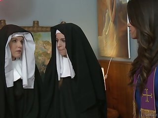 Sinful nuns get nasty together with enjoy having first passionate lesbian sex