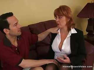 Naturally busty redhead MILF gets plowed fast