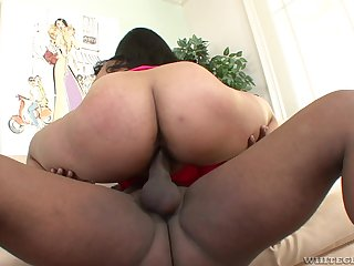 Asian mom bounces her ass on a big black dick