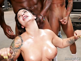 Ivy Lebelle blows every inch of her friends hard penises on make an issue of floor