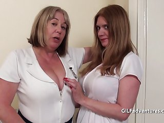 Big boobed older duo share black dick
