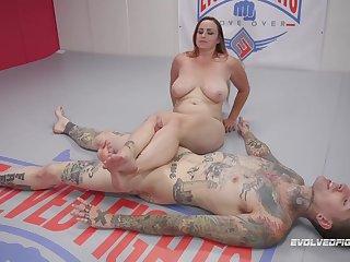 The tattooed and handsome dude fucks Bella Rossi on an obstacle floor