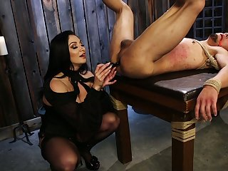 Insulting mistress Candidates Lexis puts on strapon and fucks anus of submissive dude