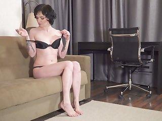 Brunet housewife Darla is masturbating smooth pussy closeup