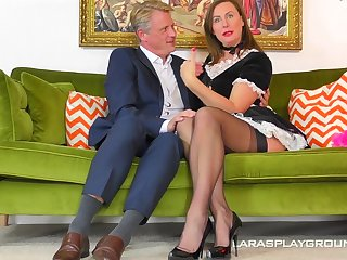 Costumed and horny milf Lara adores hard lover's close up medial her