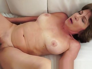 Deepthroating grandma pounded in many poses