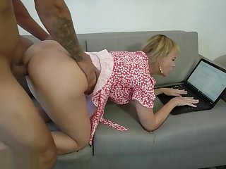 Supporting my MILF stepmom from behind during performance