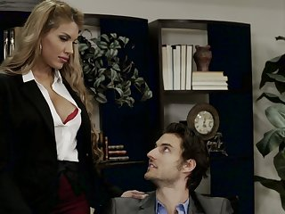 Mouth watering secretary Mercedes Carrera is making love all round handsome boss