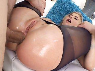 Horny blondie Lindsey Cruz poses topless outdoors onwards being anal fucked