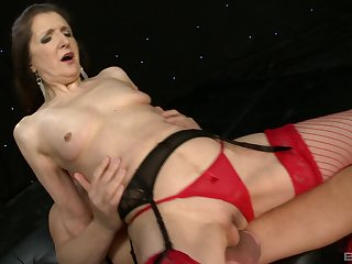 Granny Gilly Sampson in red stockings loves to suck large cocks