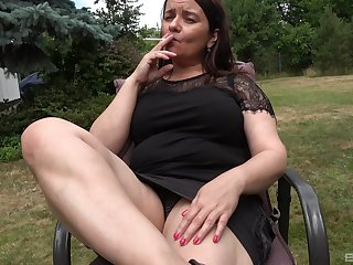 Fake dildo penetrating old cunt be fitting of amateur fat granny with saggy tits