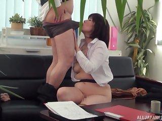 Japanese grown up tries hard sex onwards office