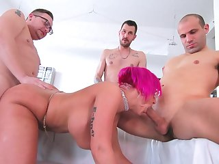 A handful of men fuck the seconded cougar until she swallows their jizz