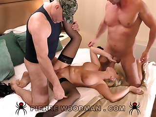 Busty blonde cougar immutable gangbang video