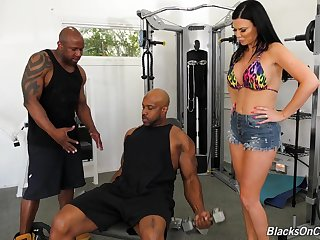 Duo black jocks fuck anus and pussy for bosomy white milf Jasmine Jae