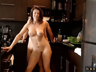 Sizzling Busty Milf Fucked With Rub-down the Larder