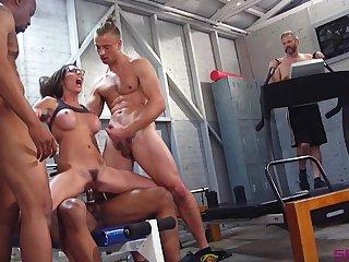 Couple for horny guys with chunky dicks destroy Dava Foxx in gangbang