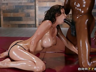 Gorgeous Alexis Fawx is oiled take with a black lover and primed for fun