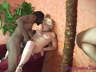 Candy Monroe loves to admiration coal-black guys forward her husband