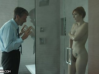 Old creepy man spying beyond a hot MILF on every side big tits in the shower