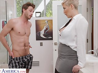 Attractive short haired blonde MILF Ryan Keely seduces dude to wank his cock