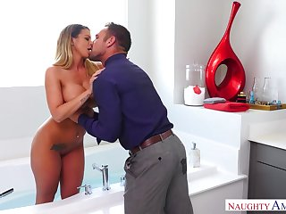 Wife's busty friend Brooklyn Chase adulterated broadly to be a thorough bitch