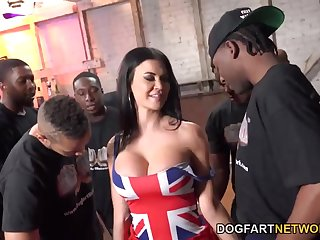 Tall UK MILF with huge tits enjoying a moisture interracial gangbang sex
