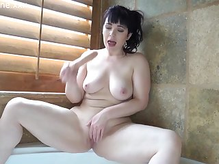 Brunette PAWG MILF masturbating in bathtub with dildo toy - big ass