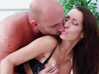 Inked MILF is taking hard dick in her pussy and asshole