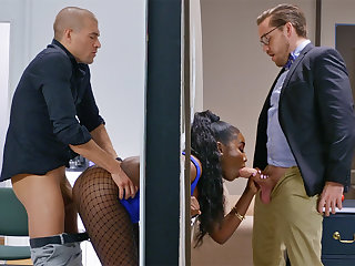 Insatiable bosses ravaged hooked bootylicious dark-hued in the fence