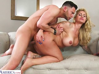 Hardcore fucking with large pair MILF Ryan Conner on the sofa