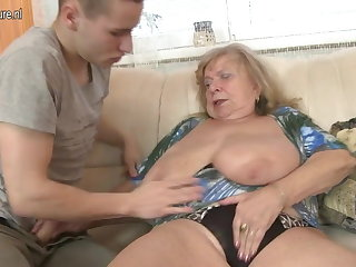 Old busty grandma fucked by young people
