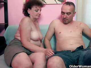 Chunky grandma enjoys his cock in her mouth and pussy
