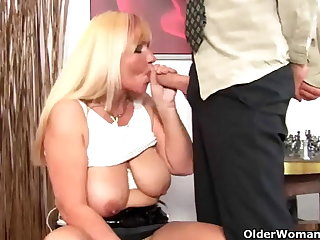 Chubby elderly woman with big tits gets fucked